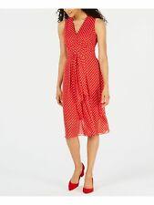 ANNE KLEIN $129 Womens New 0238 Red Polka Dot Belted Midi Sheath Dress 16 B+B