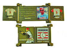 1989 Johnny Bench Cooperstown MLB HOF Bronze Door Pin in Display Box - Reds