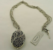 LOIS HILL GRANULATED CARVED SCROLL LOCKET DOUBLE STRAND NECKLACE