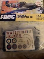 FROG HAWKER HURRICANE 2C MODEL KIT 1/72 SCALE F188F VINTAGE COLLECTABLE
