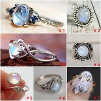Vintage Retro 925 Silver Rainbow Moonstone Boheiman Beach Wedding Party Ring