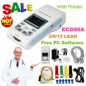 US 1 Channel ECG Machine 12 lead Digital Electrocardiograph Printer Touch Screen