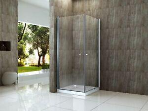 AMBO 80 x 90 cm Glas Dusche Duschkabine Duschwand Duschabtrennung Eckeinstieg