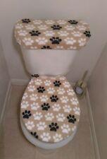 Paw Prints Black Tan White Fleece Fabric Toilet Seat Cover Set