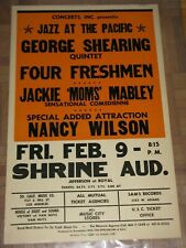 1962 JAZZ CONCERT POSTER GEORGE SHEARING, MOMS MABLEY, NANCY WILSON SHRINE AUD.