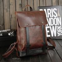 Vintage Men's Brown Leather Backpack Schoolbag Satchel Travel Hike Bag Handbag
