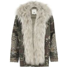 River Island Camo Print Denim Coat Jacket Detatchable Fur Size 6 - 18 RRP £70