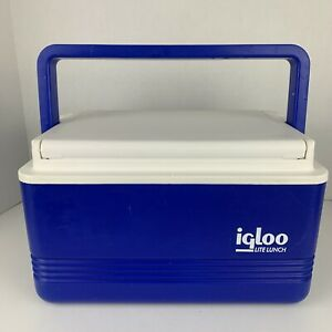 Igloo Lite Lunch Blue Beer Cooler 6 Can Capacity Camping Fishing Boating