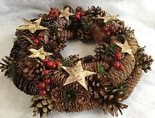 Pine Cone Red Berry Star Christmas Door Wreath Vintage Rustic Pinecone Glitter