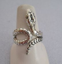Mexican 925 Silver Taxco Oxidized Coiled SNAKE Any Finger Unisex Ring Size 6.75