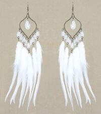 F2339F White Feather Earrings Leaf Lovely Beads Chandelier Handmade Eardrop