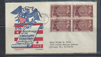 #955 block of 4 FDC with Cachet Craft cachet