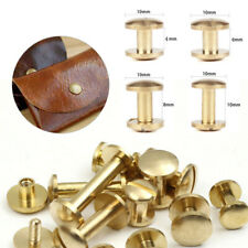 10 Arc Belt Screw Leather Craft Chicago Nail Brass Solid Rivet Stud Head 4-10mm