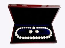 Australian South Sea Large 11-16MM Pearl Diamonds Necklace and Earrings 14k Gold