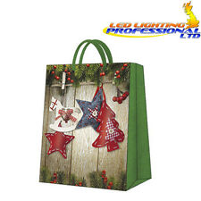Christmas Printed Paper Gift Present Bag - CHRISTMAS & STARS - Large - Green