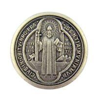 Silver Tone Saint Benedict of Nursia Pocket Prayer Token Medal, 1 1/8 Inch