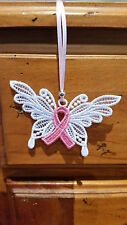 Cancer Awareness Ribbon - Small Butterfly - Free Standing Lace