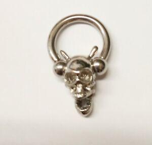 """Captive Nipple Ear Ring Heavy 10 Gauge 1/2"""" w/Skull/Devil Steel - Unique"""