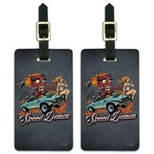 Speed Demon Flaming Hot Rod Luggage ID Tags Suitcase Carry-On Cards - Set of 2