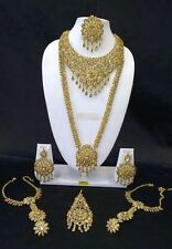 Indian Bollywood Ethnic Wedding Fashion Bridal Gold Plated 8 PCS Jewelry Set