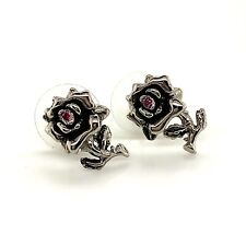 Authentic Ed Hardy Black Rose & Red Stone Stainless Steel Push Back Earrings