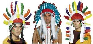 Adults Native American Warrior Headdress, Multicoloured, Fancy Dress Accessory