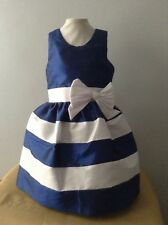 Baby Girl Dress Size 12-18 Months Blue White Taffeta Holiday  Handmade Headband