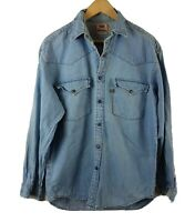 Vintage Mens Levis Denim Shirt Blue M Size Medium 90s Vtg Snap Orange Tab