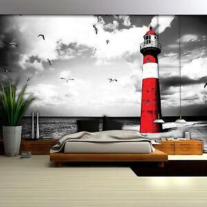 Fototapete XXL Landschaft Meer Leuchtturm Strand Meer Wohnzimmer Tapete 84