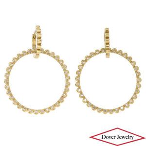 Designer 0.95ct Diamond 14K Gold Huggie Daisy Dangle Hoop Earrings 8.8 Grams NR