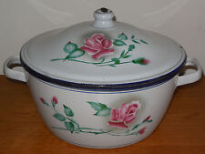 ANTIQUE FRENCH ENAMELED SHEET METAL TUREEN - JAPY FRANCE - PINK ROSE / DUCH OVEN