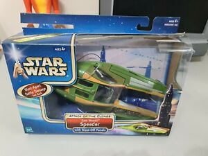 Star Wars Attack of The Clones Zam Wesell Speeder Action Figure Vehicle Boxed