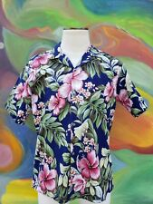 Vintage Mens Hawaiian Button Front Floral Camp Shirt Large USA Flowers Blue Pink
