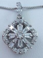 10 k White Gold 0.28 Ct. Diamond Pendant & 14 k White Gold Chain