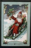 ~Santa Claus in Sled Made of Holly~Toys~Snow~Antique Christmas Postcard~a999