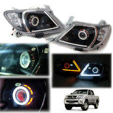 For 04-10 Toyota Hilux Vigo LED Headlights Lamps Projector Lens Pair