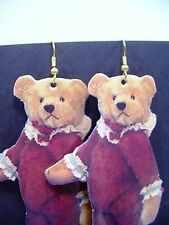 Teddy Bear Earrings ROOSEVELT BEAR CO 1993 artist Cathy Peterson paper + cloth