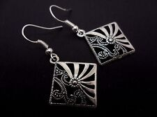A PAIR TIBETAN SILVER DANGLY DIAMOND SHAPED EARRINGS. NEW.