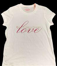 Victorias Secret XS Tee T-shirt White Gold Glitter LOVE Pink Glitter S/S NWT