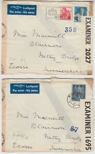 MILITARY 1944 SWITZERLAND 2 DOUBLE censor covers MONTREAUX-NETTY BRIDGE SCOTLAND