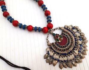 Old Boho Handmade Afghan Banjara Wooden Bead Tribal Gypsy Pendant Necklace