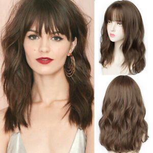 Long Curly Wavy Hair Wig with Bangs Heat Resistant Synthetic Wig Women Cosplay
