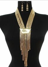 Collar Gold Vintage Style Costume Tassel Bib Egyptian Chain Chunky Necklace