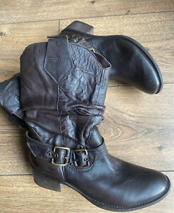 Boutique Brown Leather Western Mid Calf Boots 3 36