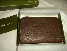 LONGCHAMP  VF LEATHER ZIP COIN WALLET,  AE 3612 021 002,  MOKA,  NWBOX