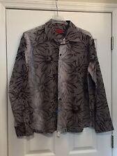 "MAXX H. Grey On Grey Dressy Shirt. Sheer ""Petal Trim"". Size XXL. Excellent Cond."