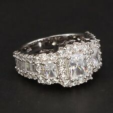 Engagement Ring Size 7 - 7g Sterling Silver - Signed Cz Cubic Zirconia