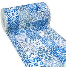 Tappeto bagno cucina piastrelle maioliche blu antiscivolo passatoia mod.RETRO' E