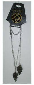 HIM H.I.M. Ville Valo Broken Hearts Love Silver Engraved Pendant Necklace NEW