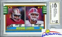 1990 Topps #431 Jerry Rice Hidden Treasures w/GU JERSEY BECKETT 10 MINT GGUM